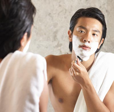 Asian men grooming