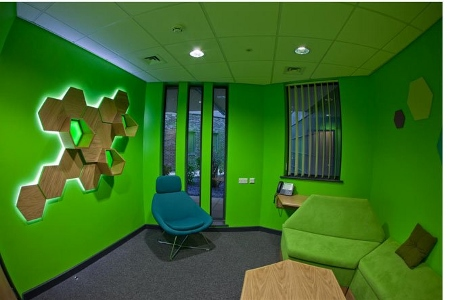 picture of Boex used rich colours to create age-appropriate relaxing areas for young people of all ages at The Everybody Centre in Blackburn